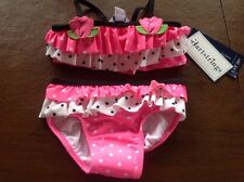 Hartstrings 18 Month Baby Girls 2-Piece Polka Dot & Tulips Swimsuit UPF 50+ NWT