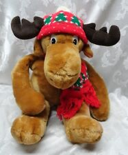 "Moostletoe 1986 Little Moose 23"" Korea Red Scarf Christmas Tree Commonwealth EUC"