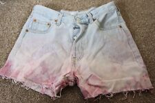 vintage RE-WORKED DIP DYED HIGH WAIST DENIM SHORTS W29 BY LEVIS STRAUSS 501