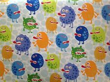 ~FLANNEL~ Monsters ~ Quilting ~Fabric~Childrens Flannelette~Bright~Boys~Baby~ FQ