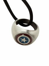 MARVEL AVENGERS CAPTAIN AMERICA SUPER HERO Costume  RING Black Cord NECKLACE NEW