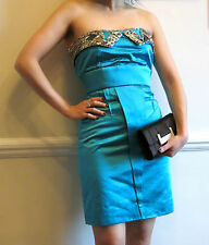 Matthew Williamson turquoise blue satin strapless cocktail evening dress Size 6