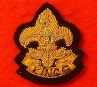 Kings Regiment Side Cap Badge Bullion Wire Hand Embroidered Kings Hat Badge