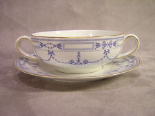 Community China Grosvenor Cream Soup Bowl & Underplate ~ Blue Ribbon and Swag