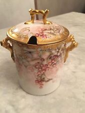 Antique Limoges Hand Painted Porcelain Condensed Milk Container Gold Encrusted