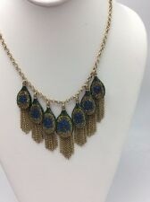 $75  LUCKY BRAND Gold-Tone Peacock Pave Fringe Statement Necklace J 30