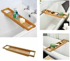 BAMBOO BATH TUB RACK BATHROOM STORAGE CADDY SHELF RACK BRIDGE BATH TUB TRAY