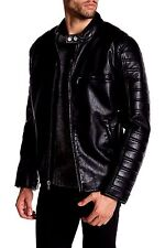NWT Andrew Marc NY Mens Size Large Black Watkins Faux Leather Motorcycle Jacket