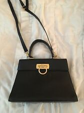 Salvatore Ferragamo Black Kid Leather Kelly Crossbody Bag Vintage