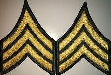 US ARMY CLASS A E5 SERGEANT SGT GOLD&GREEN PATCH 1 PAIR NEW (HG17)