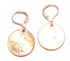 Penny Coin Earrings on Leverback Brass Hook Rose Gold Copper Lincoln 1 Cent