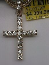 10k Dark Yellow Gold 1.00 CT Genuine Round Diamond Cross Elegant Jesus Pendant