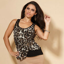 Your Style Fashion Womens Size 10 Animal Print Layered Chiffon Vest Top