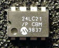 10x 24LC21/P 1K 2.5V Dual Mode I2C™ Serial EEPROM, Microchip