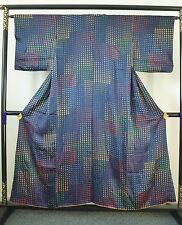 Authentic vintage Japanese blue silk kimono for women, Japan import (H701)
