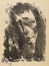 BRUNO KRAUSKOPF - PORTRAITSTUDIE - Lithografie 1919