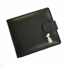 Black Leather Wallet with Silver Golf Bag Design Golf Wallet