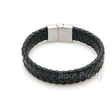 Herren Armband geflochten schwarz Edelstahl Schließe Armschmuck Armbänder