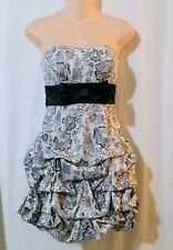 RUBY ROX Black White Print Pick Up Skirt Strapless Cocktail Evening Dress Size 1