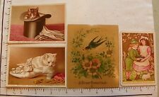 6 HOLIDAY CARDS BOY GIRL HAPPY NEW YEAR 2 CAT HAT CHRISTMAS; BIRD ENVELOPE 1724