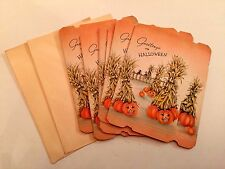 Vintage 6-- 1940s Halloween Greeting Cards w/ Envelopes Pumpkin Patch