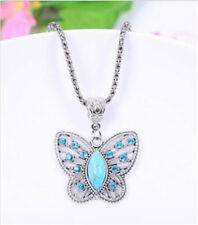 Vintage Jewelry Tibetan Silver Butterfly Turquoise Women Pendant Necklace