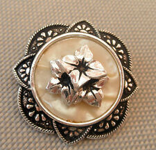 Vintage MOP Mother of Pearl Effect 3D FLOWER SCARF RING CLIP 1960's