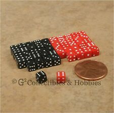 NEW 5mm 50 Black Red Mini Dice Set RPG Game Miniature 3/16 inch Tiny Gaming D6
