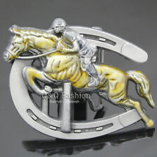 Men Jockey & Race Horse Hurdles Horseshoe Western Silver Rodeo Belt Buckle