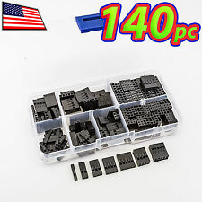 [140pc] Dupont Wire Jumper Pin Header Connector Housing Kit 1P 2P 3P 4P 5P 8P 10