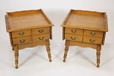 Matching Pair Of Maple End Or Lamp Tables W Drawer Colonial Traditional Vintage