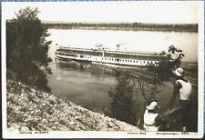 1938 Soviet postcard STEAMSHIP ON THE VOLGA RIVER, photo by D.Sholomovich