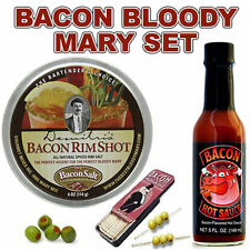 BACON BLOODY MARY & CAESAR COCKTAIL SET - RIM SALT, BACON HOT SAUCE & TOOTHPICKS