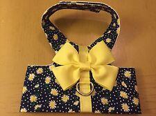 Navy Blue Daisy Dog Cat Yellow Bow Harness S 868 870, XS 871 872, XXS 873 874