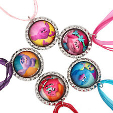New 5pcs Mix Trolls Cartoon Bottle Cap Charm Pendants Chain Necklace X-mas Gift