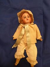 Antique bisque head German doll - 8 inches / glass eyes 1800s