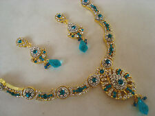 GOLD TONE blue stone WORK beautiful kundan necklace SET with earring  6800B