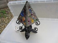 Original Peter Marsh Table Lamp Vintage Wrought Iron & Glass Rock Crystal
