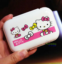 Cute White Hello Kitty Pill Box Organizer Medicine Vitamin Storage Box Travel