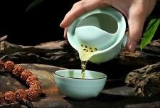 China Longquan Celadon Handmade Ware GaiWan Teapot Tea Set Portable Travel Kit