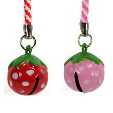 STRAWBERRY BELL CHARMS 2 Set Cell Phone Mobile NEW Berries Berry Strap Craft