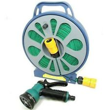 50ft Flat Hose With Spray Nozzle - Garden Pipe & Reel Gun 15m Pipe Outdoor