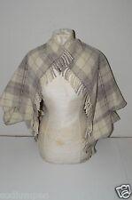 BEAUTIFUL Vintage Handmade Wool Shawl Scarf Wrap Gray Peal White Checker Plaid