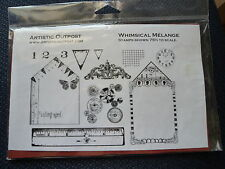 Artistic Outpost Rubber Stamp Set, Whimsical Melange. Tags Clock Bunting Collage