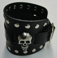 Wide Black Leather Watch Band With Skull Head Made in USA Buckle Closure