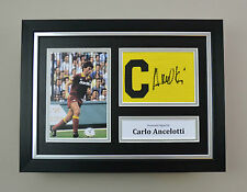 Carlo Ancelotti Signed A4 Photo Framed Captain Armband Roma Autograph Display