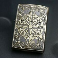Zippo Lighter CLASSICAL COMPASS 2 Antique Brass Both Sides Etching Japan Model