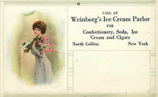 "NORTH COLLINS NY ""WEINBORG'S ICE CREAM PARLOR"" CALENDAR POSTCARD"