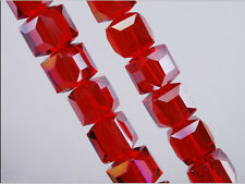 Bulk 30pcs Red AB Glass Crystal Faceted Cube Beads 8mm Spacer Jewelry Findings