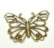 30 Bronze Tone Filigree Butterfly Wraps Connectors Pendants DIY Finding 66x50mm